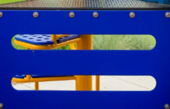 blue playground panel ladder